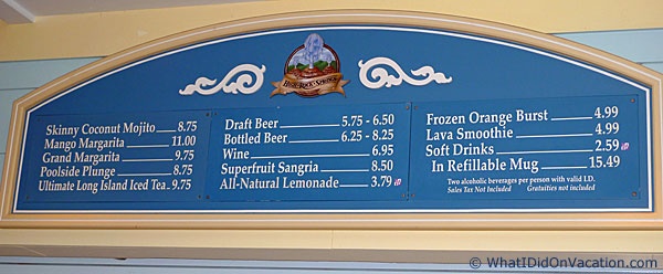 On the Rocks pool bar prices