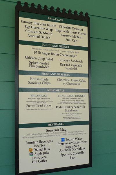 paddock grill menu