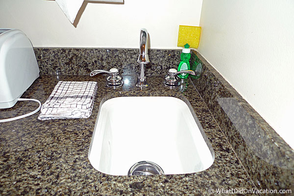 the sink area of the deluxe studio