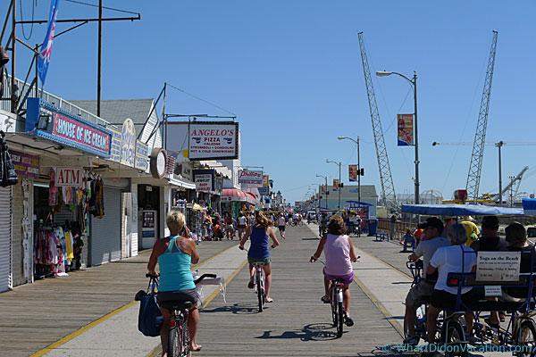 biking on the Wildwood Boardwalk
