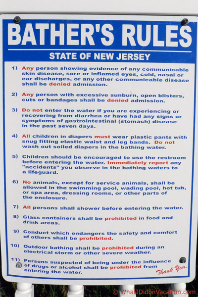 State of New Jersey swiming pool rules