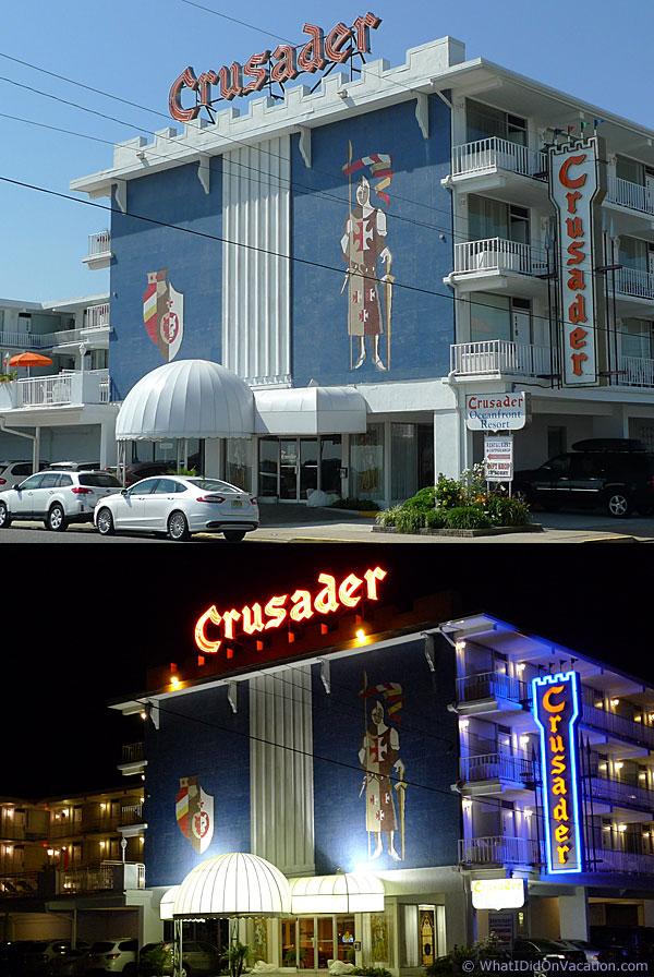 the Crusader motel day and night
