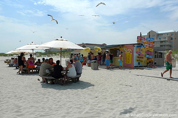 snack shack seating on the Diamond Beach