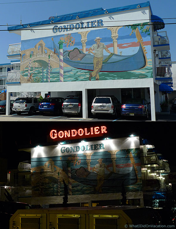 Gondolier Motel day and night
