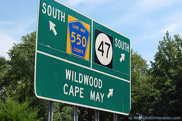 traffic sign for Wildwood in New Jersey